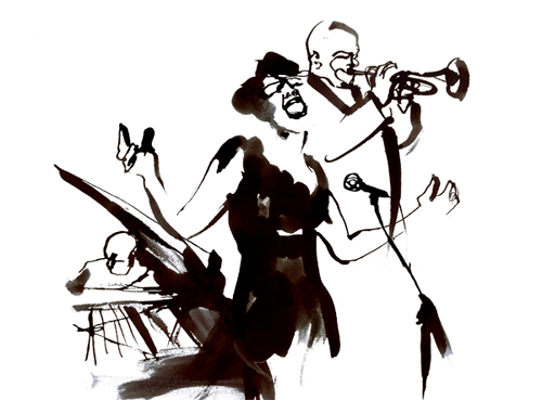 Jazz Band Eri Griffin Black Amp White Ink Illustration